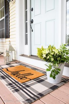 Outdoor Decor Ideas To Boost Your Home's Curb Appeal. Front Porch Decor Ideas Easy and affordable front porch decor ideas you can do to create a welcoming curb appeal for your home using a plaid rug, rocking chairs and some paint Decor, House Styles, House Design, Sweet Home, Front Door, New Homes, Front Porch Decorating, Home Decor, Porch Decorating