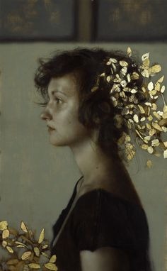 Portrait with flecks of gold and silver leaf by Artist Brad Kunkle. Such a delightful contrast between subtle tonalities and the metallic!