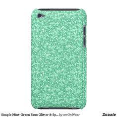 Simple Mint-Green Faux Glitter & Sparkles