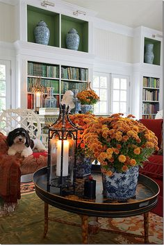 """Loving all of the blue and white Chinoiserie porcelains - but I'm not really a """"blue person."""" No blue colors in any room. Will it look odd if I use it? Thanksgiving Decorations, Halloween Decorations, Table Decorations, Home Design, Interior Design, Studio Interior, Interior Plants, Design Design, Modern Design"""