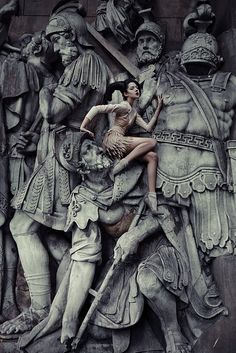A nice editorial shot of where's wally versus dramatic roman statue. I feel there is lots of movement & fun in this image