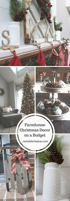 A list of inexpensive,or free,decorating tips to help you simply create the perfect farmhouse christmas decor for your home. -- Read more at the image link. #HomeImprovementProjects