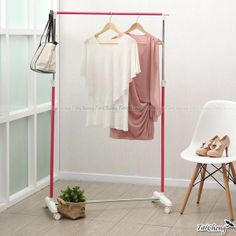 【MIT】Simple Life Wheels Rail Adjustable Clothes Hanger Rack Clothes Storage