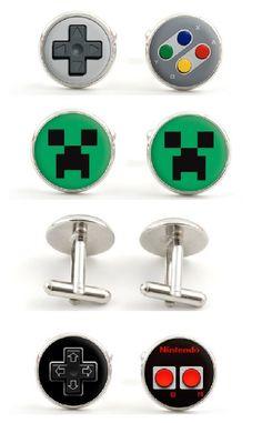 Gamer cufflinks from Nintendo controllers to Minecraft. So fun!