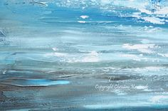 "ORIGINAL Art Abstract Painting Blue Textured Ocean XL Modern Seascape Palette Knife Aqua Brown Grey White Beach Wall Decor 36x36"" -Christine"