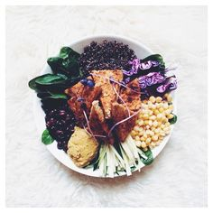"""One of my all time favourite recipes: the black bean, corn and quinoa salad with Healing Hummus and smoked paprika spiced tempeh  details + recipe up on…"""