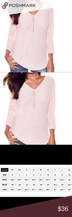 New Cherry blossom pink v-neck sweater Metallic V-Neck City Dolman Sweater   Subtle sparkle: a hint of metallic fabric illuminates this textured-knit dolman sweater, finished with a flattering v-shaped neckline.  V-neck. Long dolman sleeve.  Hits at hip.  49% Cotton, 35% Rayon, 7% Nylon, 6% Polyester, 3% Metallic. Sweaters V-Necks