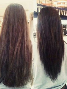 V-cut. Hair before and after. This is how I always tell them to cut my hair. I hate a straight cut.
