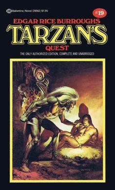 BORIS VALLEJO - art for Tarzan's Quest by Edgar Rice Burroughs - 1976 Ballantine paperback
