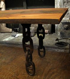 Rustic table with anchor chain legs by oldegoodthings on Etsy Car Furniture, Metal Furniture, Industrial Furniture, Welding Projects, Wood Projects, Barbecue Area, Anchor Chain, Rustic Table, Rustic Interiors