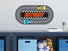Racing Track with Custom Name Fabric Wall Decal - NASCAR Inspired Racing Name Wall Sticker - Reusable, Repositionable *** Learn more by visiting the image link. Personalized Wall Decals, Personalized Growth Chart, Personalised Canvas, Name Wall Stickers, Nursery Wall Stickers, Nursery Wall Decor, Car Fabric, Car Wall Art, Racing Stripes