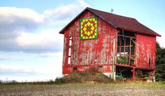 Barn Quilt Pattern Signs | barn with quilt a red barn in need of repairs sports a colorful barn ...