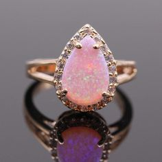 Fire Opal Teardrop Gold Ring