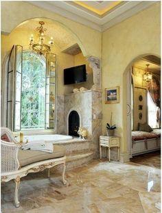 Luxury Master Bathroom With Fireplace: 10 Designer Bathrooms Fit For Royalty Luxury Master Bathrooms, Bathroom Design Luxury, Dream Bathrooms, Beautiful Bathrooms, Luxurious Bathrooms, Bathroom Interior, Master Baths, Modern Bathroom, Luxury Bathtub