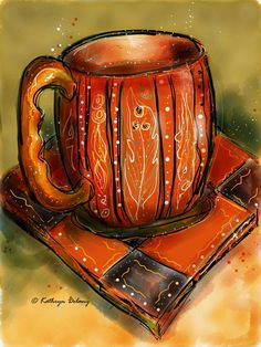 Coffee Time 1, painting on paper by Kathryn Delany, part of her coffee mug series