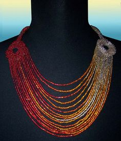 Gold Shifting to Deep Red  Bead Embroidered Necklace