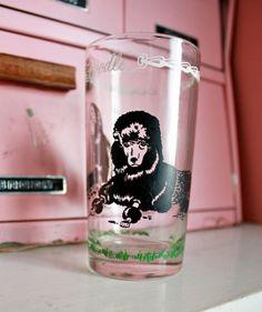 Vintage 1950s Black Poodles Tumbler Glass on Etsy, $12.00