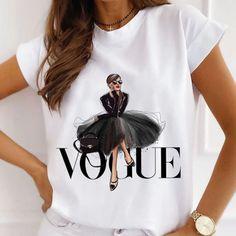 Collars For Women, T Shirts For Women, Vogue Fashion, Fashion Women, White T, Harajuku Fashion, Casual T Shirts, Neck T Shirt, Printed Shirts
