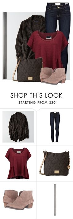 """Cute Sweater and Burgundy Top"" by jlgoodman ❤ liked on Polyvore featuring American Eagle Outfitters, Frame, Current/Elliott, MICHAEL Michael Kors, Jessica Simpson and Improvements"