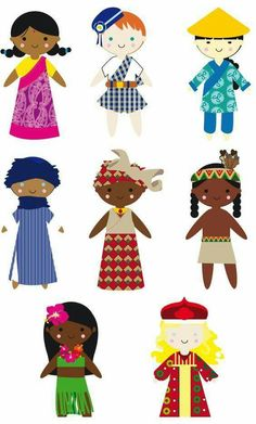 Landen - Wereld - Knippen - poupée du monde- Print and cut out to add to international pen pal letters Around The World Theme, We Are The World, Diy For Kids, Crafts For Kids, Pen Pal Letters, World Crafts, Cultural Diversity, Thinking Day, Child Day