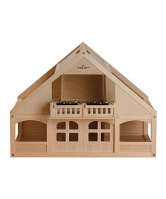 Little decorators delight over this solid wood darling dollhouse. With two floors and six rooms to design and featuring sliding front doors, full flower-lined balcony area and plenty of access points, it accommodates bitty house parties, sleepovers and other abundant adventures. The built-in handle makes it portable too!16.5'' W x 23.5'' H x 31.5'' DWoodRecommended for ages 3 years and upImported