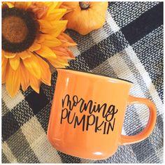 "@createwithashley on Instagram: ""Morning Pumpkin! 🍂 . #morningpumpkin #fall #autumn #sundaymorning #coffee #givemeallthecoffee #mugobsession #diy #diymug #fallmug…"" Lettering Design, Hand Lettering, Diy Mugs, Autumn Morning, Raise Your Hand, Silhouette Machine, Custom Mugs, Print And Cut, Moscow Mule Mugs"