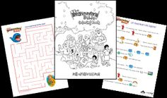 Free printables with a Noah's Ark theme (coloring page, maze, and story with pictures).  Nice!