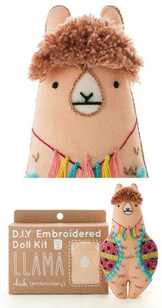 Hand embroidery kits by Kiriki Press // animal embroidery // doll kit