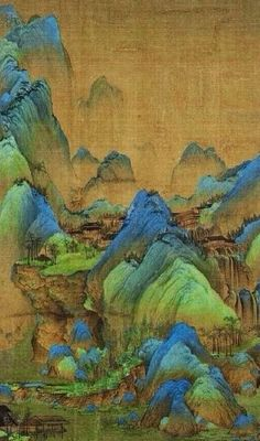 A portion of A Thousand Miles of Rivers and Mountains (千里江山图), a horizontal landscape scroll by 18-year old Wang Ximeng (王希孟) (1096 - 1119)