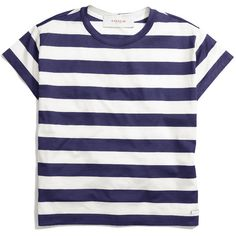 The Cotton Jersey Stripe Tee ($198) ❤ liked on Polyvore featuring tops, t-shirts, shirts, tees, blue stripe shirt, striped t shirt, tee-shirt, coaches shirts and blue shirt