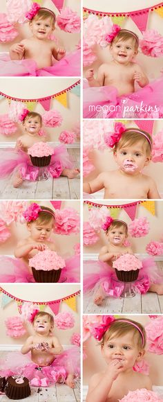 Cake Smash- like the pink poms in the background and pink tutu Baby Cake Smash, 1st Birthday Cake Smash, Baby First Birthday, Baby Birthday, First Birthday Parties, First Birthdays, Birthday Ideas, First Birthday Photography, First Birthday Pictures