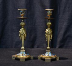 (Pr) FRENCH BRONZE & CHAMPLEVE CANDLESTICKS : Lot 0064A
