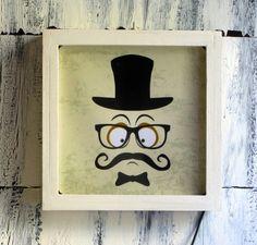 www.kiliart.com -Serie #Vintage. #BIGOTES .Light Box LED #Decora tu hogar con un #moustache iluminado.
