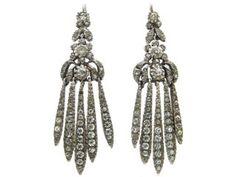 Edwardian Silver & Paste Tassle Drop Earrings
