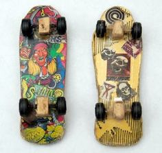 these are awesome pre tech deck fingerboards! made out of ardboard and glue
