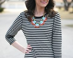 black and white stripes with statement necklace - www.lovelucygirl.com