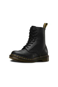 """A true classic, Dr Martens 8-eye Pascal boot will take you confidently anywhere you need to go. In soft black Napa leather with Dr Martens trademark air cushioned sole. These boots are oil/fat/acid/petrol/alkali-resistant so you can tromp whatever life throws at you in style.    Heel height: 1 1/4""""   Pascal Boot by Dr Martens . Shoes - Boots - Flat Providence, Rhode Island"""