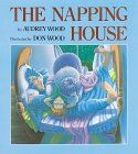 The Napping House - Included in the napping house menagerie is a dozing dog, a snoozing cat, a slumbering mouse, and a wakeful flea who ends up toppling the whole sleep heap with one chomp! Don Wood's delightfully detailed comical illustrations are bathed in moonlight blues until the sun comes up, then all is color and rainbows and a very awake household.