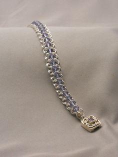 Sterling Silver Chain Maille Bracelet with Tanzanite Swarovski Crystals