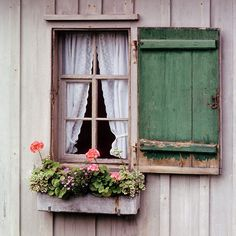 Sweet farmhouse window inspiration with shutters and window box w/geraniums and other flowers Old Windows, Windows And Doors, Rustic Windows, Garage Windows, Green Shutters, Rustic Shutters, Cottage Windows, Window View, Window Dressings