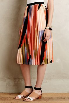 Pleated Colorblock Skirt #anthropologie