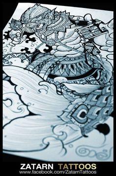 Cambodian Tattoo, Khmer Tattoo, Thai Tattoo, Tattoo Thailand, Original Tattoos, Tattoo Designs, Tattoo Ideas, Thai Style, Hanuman