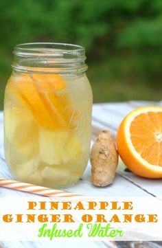 Pineapple ginger orange infused water recipe- add a little flavor to your daily water intake!