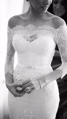 Black and white lace sleeve wedding dress. #weddingdress