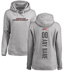 Carolina Hurricanes Fanatics Branded Women's Personalized Backer Pullover Hoodie - Ash