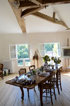 The stunning attic sewing room at Domaine De La Salle in South West France Mollie Makes, White Cottage, French Chateau, Attic, Awards, Workshop, Dining Table, France, Sewing