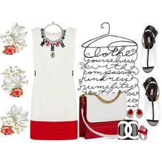 """Blk Wh Red"" by lacindasarco on Polyvore"