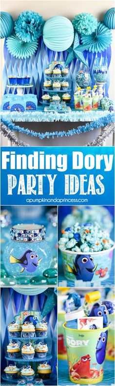 Finding Dory Party Ideas – easy DIY Finding Dory treats, party favors, and decorations. MichaelsMakers A Pumpkin And A Princess