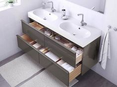 The best bathroom vanities have room for nearly everything, but take up as little space as possible. Long Narrow Bathroom, Double Sink Bathroom, Single Bathroom Vanity, Ikea Mobile, Best Bathroom Vanities, Vanity Set With Mirror, Ikea Home, Bathroom Furniture, Amazing Bathrooms