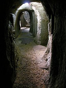 View of passageway in Drum St, Gilmerton, an old  mining village on the southern fringe of  Edinburgh, Scotland,where a strange system of man-made caves were recently restored.